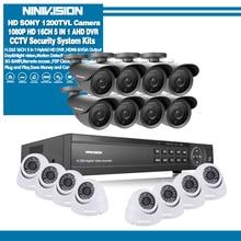 Sony 16CH AHD 1080N 1080P DVR CCTV system kamer do monitoringu domu 16 sztuk IR odkryty 1200TVL nadzór wideo noc w domu vision kit