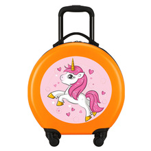 Rounded kids travel suitcase on wheels, 18'' kids Cartoon carry on suitcase,cabin rolling luggage trolley bag case,cute girls