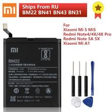 Batterie téléphone dorigine XIAOMI BM22 pour Xiaomi Mi 5 Mi A1 Redmi Note 5A Pro Redmi Note 4 4X Pro BN41 BN43 BN31 batterie