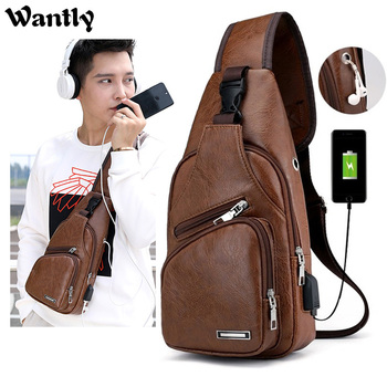 Vintage Mens PU Leather Shoulder Bags 2020 Function Travel Storage Bag Male Sling Waist New Documents Storgage Chest Pack - discount item  40% OFF Women's Handbags