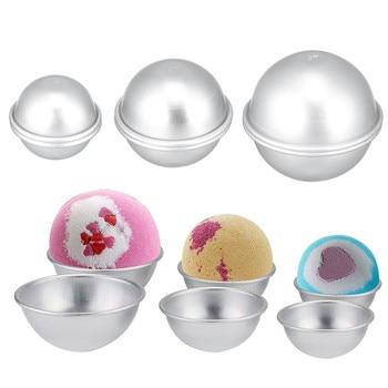 1 Juego de moldes de bombas de baño redondos de aleación de aluminio, herramienta DIY, bomba de baño, Bola de sal, fabricación casera, semicircular, esfera de Metal, herramienta de baño, molde