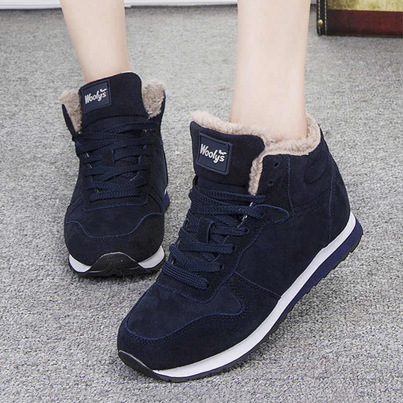 Women Boot Fashion Warm Ankle Boots For Women Winter Shoes Flock Women Shoes Suede Snow Boots Lace Up Female Footwear Plus Size
