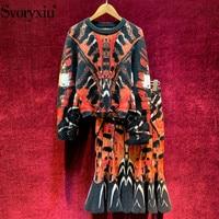 Svoryxiu 2019 Designer Autumn Winter Elegant Mermaid knitting Skirt Suit Women's Vintage Pattern Sweater Two Piece Set Female