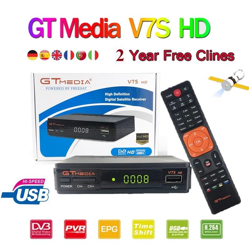 Original GT Media V7S HD HD Satellite Receiver DVB-S2 V7S Full HD USB 2.0 DC 12V / 1.2A High Quality + Free Europe 6 Cline Cccam