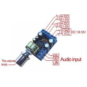Image 3 - Einzelhandel TDA2822 TDA2822M Mini 2,0 Kanal 2x1W Stereo Audio Power Verstärker Board DC 5V 12V AUTO Volumen Control Potentiometer Modu