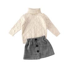 Комплекты одежды для маленьких девочек на осень и зиму, вязаный свитер с высоким воротником, комплект из топа и мини-юбки в клетку с принтом