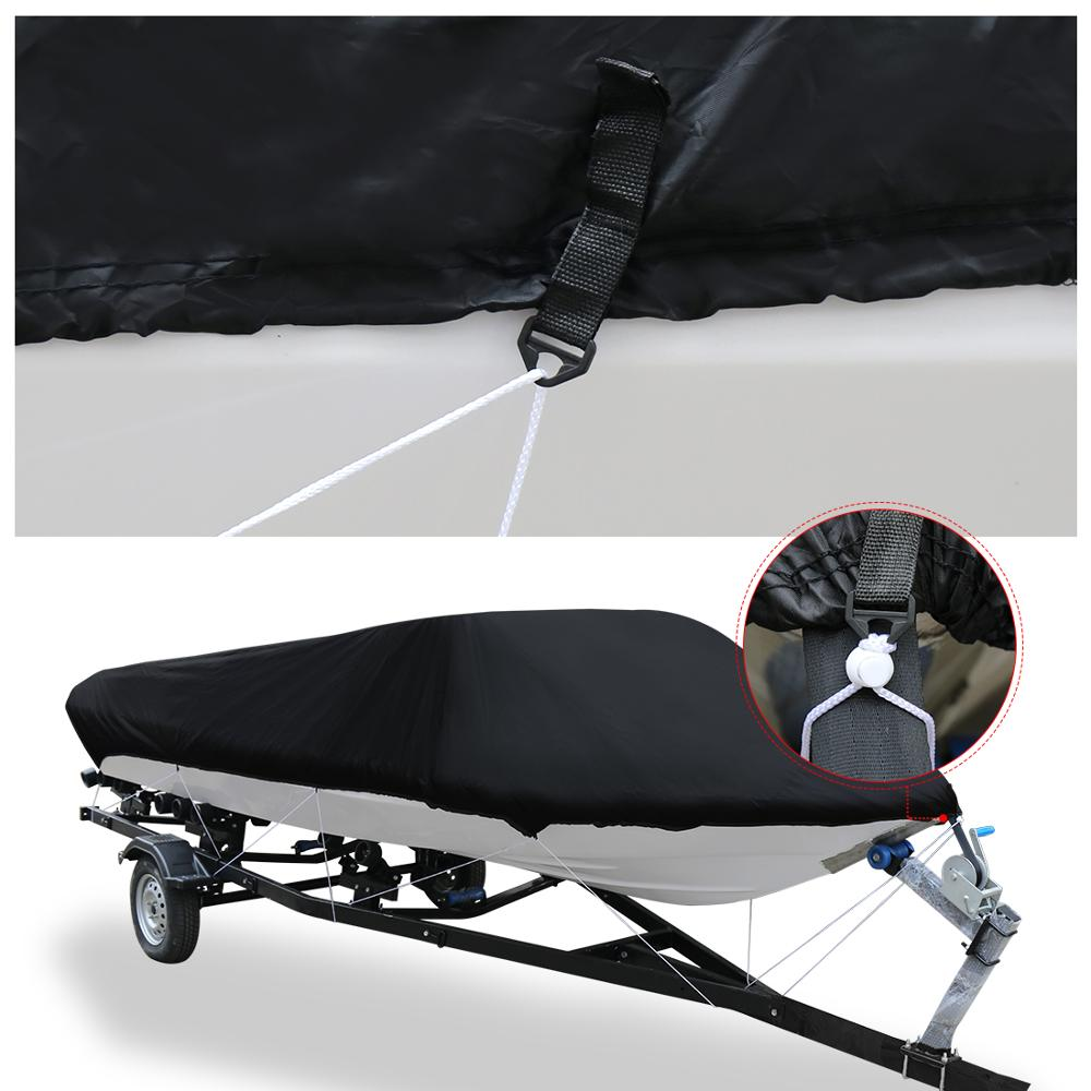 Image 2 - X AUTOHAUX 210D 540/570/700 x 280/300CM Trailerable Boat Cover Waterproof Fishing Ski Bass Speedboat V shape Black Boat Cover-in Boat Cover from Automobiles & Motorcycles