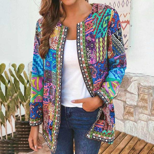 6XL Jacket Coat Women Fashion Autumn Winter Ethnic Floral Print Long Sleeve Loose Jacket Coat Cardigan Loose Outerwear Chic Top