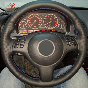 Image 2 - LQTENLEO czarna sztuczna skóra DIY osłona na kierownicę do samochodu dla BMW M Sport E46 330i 330Ci E39 540i 525i 530i M3 M5 2000 2006