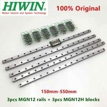 3 stücke Hiwin linear schiene MGN12 150 200 250 300 330 350 400 450 500 550 mm MGNR12 guide + 3 stücke MGN12H block wagen 3D drucker CNC