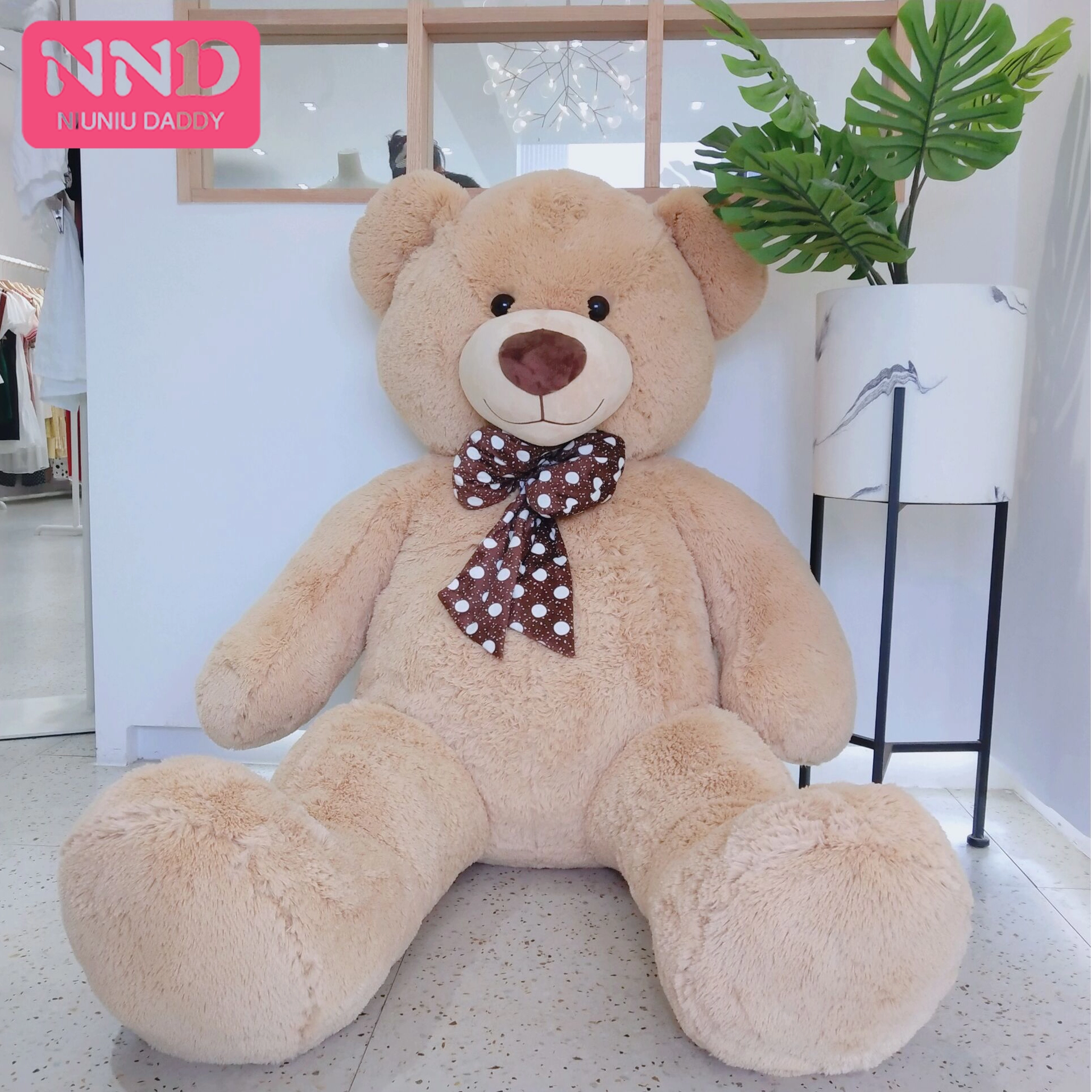 Niuniu Daddy Huge Teddy Bear Skin High Quality Plush Wave Point Tie Bear Skin