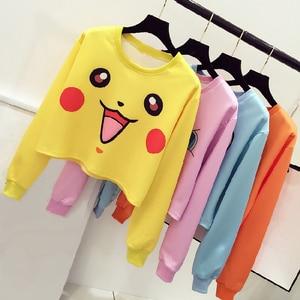 new Harajuku Sexy Girls Cosplay Costume Pikachu Crop Top Hoodies Print Sweatshirt Colorful long sleeves Tee
