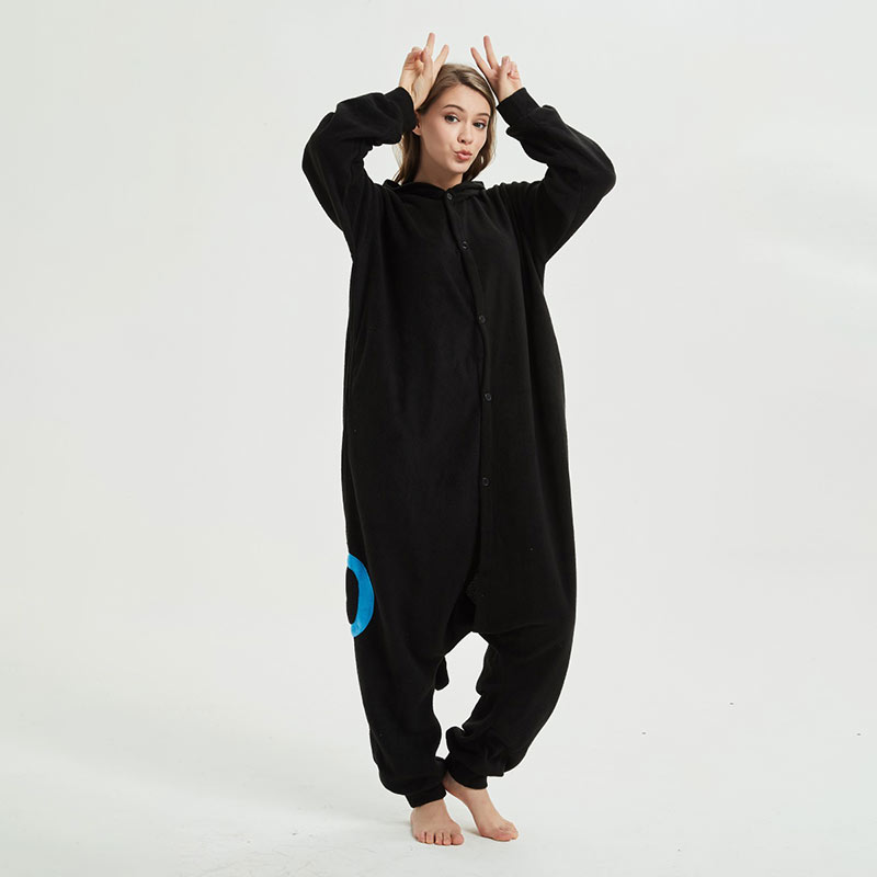 Blue Black Umbreon Kigurumis Anime Cartoon Pajama For Adult Unisex Couple Onesie Polar Fleece Outfit Warm Sleepwear Cute Suit