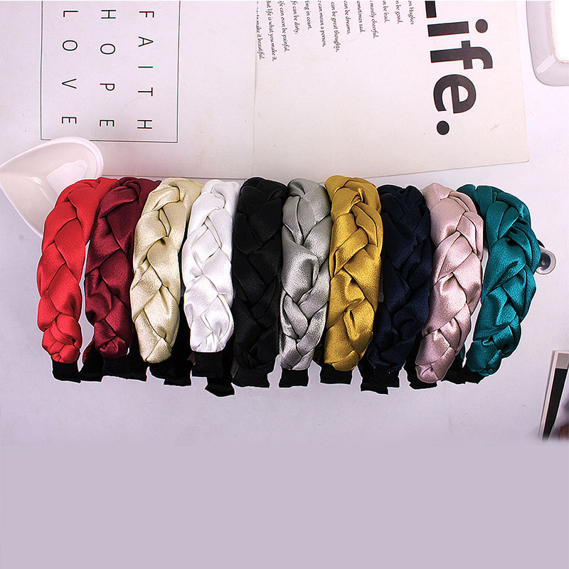Wide Headband 1Pcs European Style Velvet Braided Hair 16*18CM Hand Knitted Head Hoop Ethnic Style Multicolor