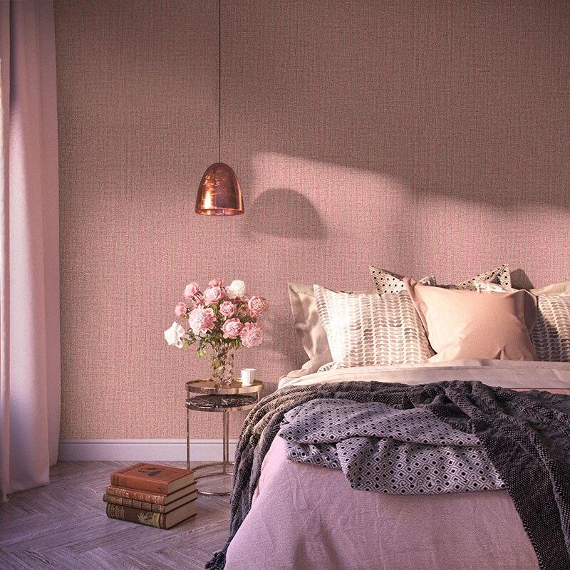 Nordique solide couleur belle Rose chambre décor papier peint lin Non tissé Rose rouge imperméable filles chambre papier peint rouleau
