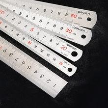 Nova 15/20/30/cm régua de aço inoxidável de metal engrossado estudante papelaria multifuncional engenharia escritório desenho ferramenta fornecimento