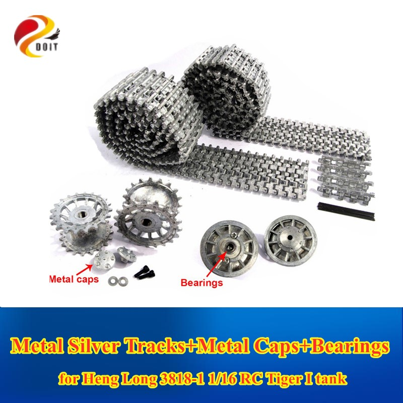 DOIT Metal Silver Tracks Sprockets Early with Metal Caps Idler Wheels with Bearings for <font><b>Heng</b></font> <font><b>Long</b></font> 3818 1 16 <font><b>RC</b></font> Tiger 1 <font><b>tank</b></font> image
