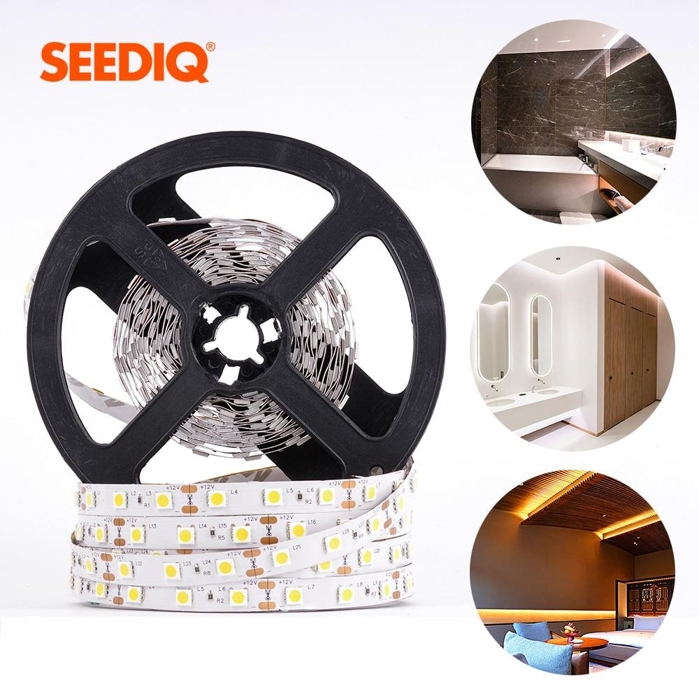 5M Led Strip 12v Waterproof 2835 5050 SMD 60Leds/M Flexible Led Stripe RGB Ribbon Led Lights Diode Tape Indoor Home Decor Light(China)