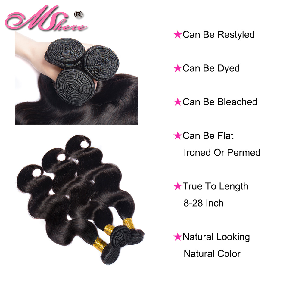 Mshere Brazilian hair body wave hair weave hair strands Natural Color 100% human hair weave 3/4 pieces Non Remy Hair Extensions