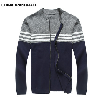 Autumn Men Plus Fat Plus Baseball Collar Sweater Coat Male Fat Man Spell Salad Chain Knitting Cardigan Top