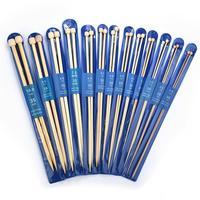 2 unids/set 35cm recto agujas de tejer de bambú/acero inoxidable gancho de ganchillo de suéter tejido de tejer herramientas de costura