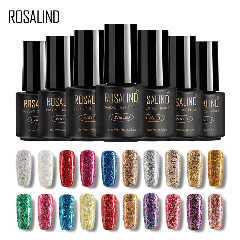 ROSALIND 7ML żelowy lakier do paznokci diamentowy brokat żel W01-29 żelowy lakier do paznokci Nail Art UV i LED Soak-Off Glitter Manicure nails