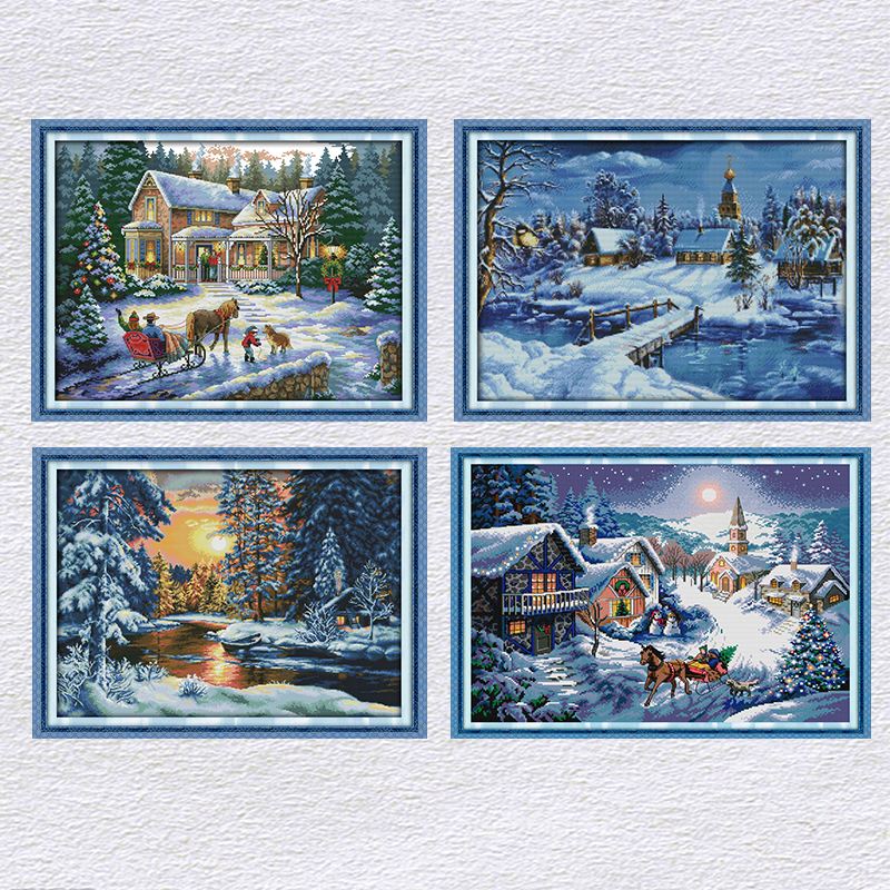 Joy Sunday Merry Christmas Cross Stitch Kit Beautiful Scene Chinese Embroidery Counted Needlework Decoracion Set Printed Fabric image