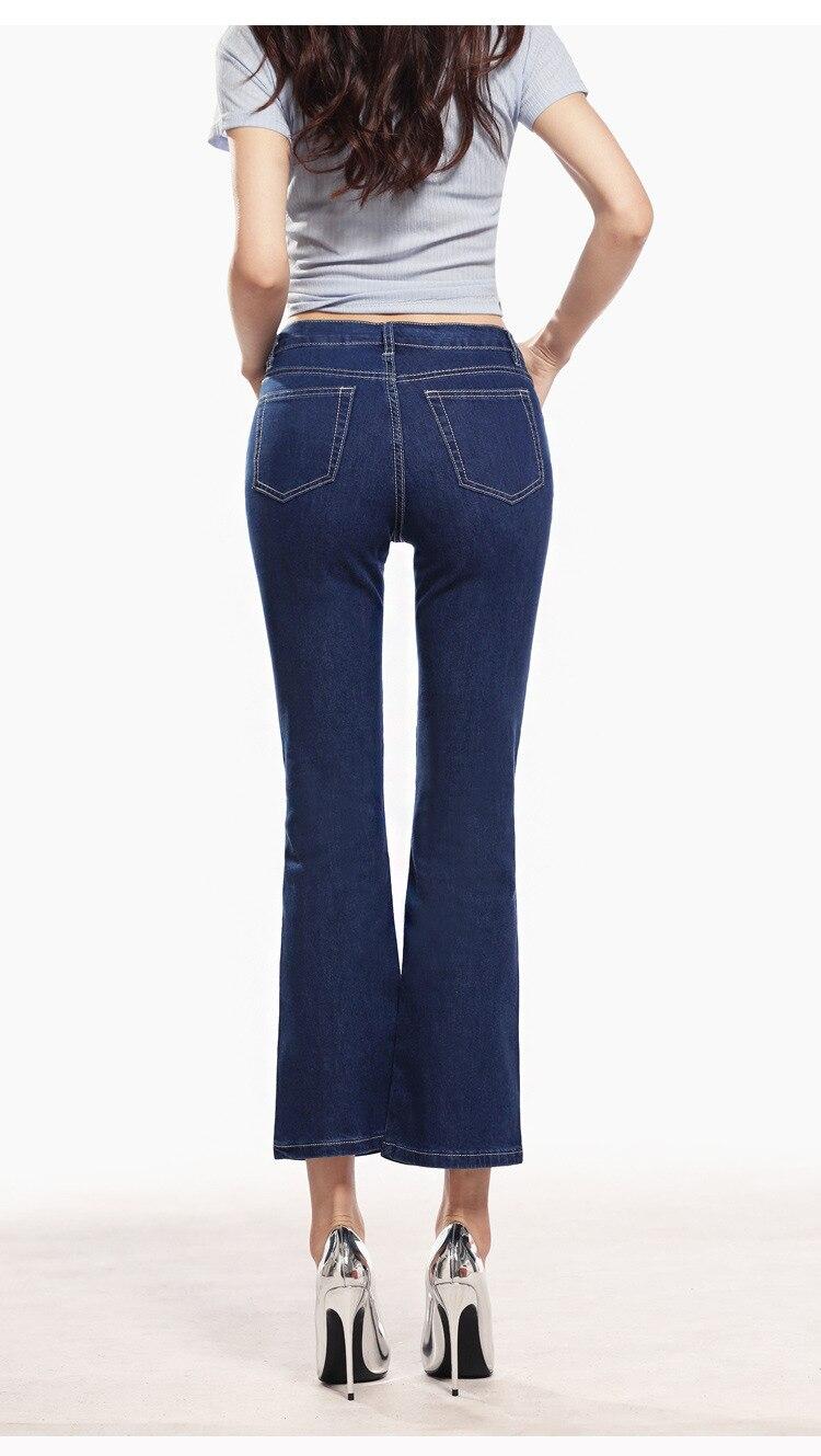 KSTUN FERZIGE  Womens Jeans Solid Black Blue Summer Thin Flare Pants Cropped High Waist Stretch Denim Pants for Yong Girls Fashoin 19