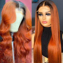 Oranje Gember Lace Front Menselijk Haar Pruiken Ombre Kleur Menselijk Haar T Deel Lace Pruiken 180% Braziliaanse Remy Lace Front pruiken Body Wave