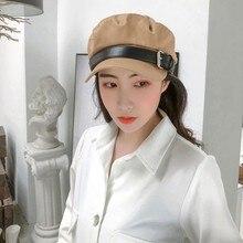 Зимняя женская восьмиугольная шляпа, винтажная однотонная шляпа с пряжкой, газетный берет, кепка темно-синего цвета, Повседневная модная цветная теплая Кепка pello Donna