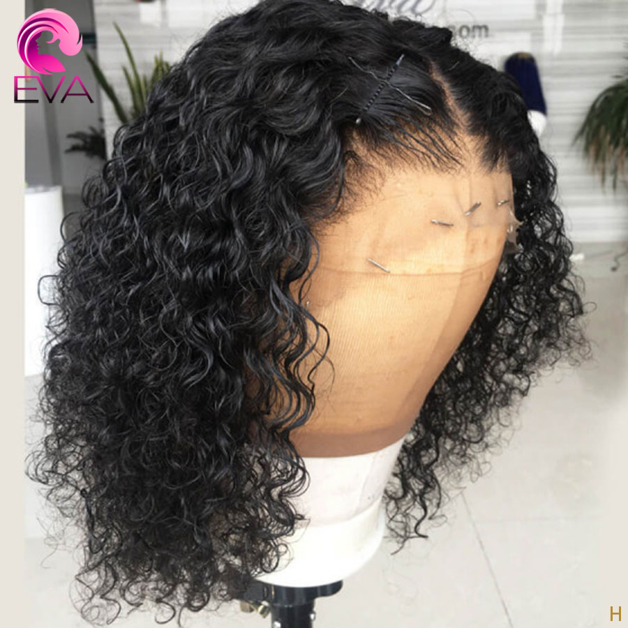 Eva Hair 180% 360 Lace Frontal Human Hair Wigs Pre Plucked With Baby Hair Short Bob Curly Remy Hair Wigs For Black Women
