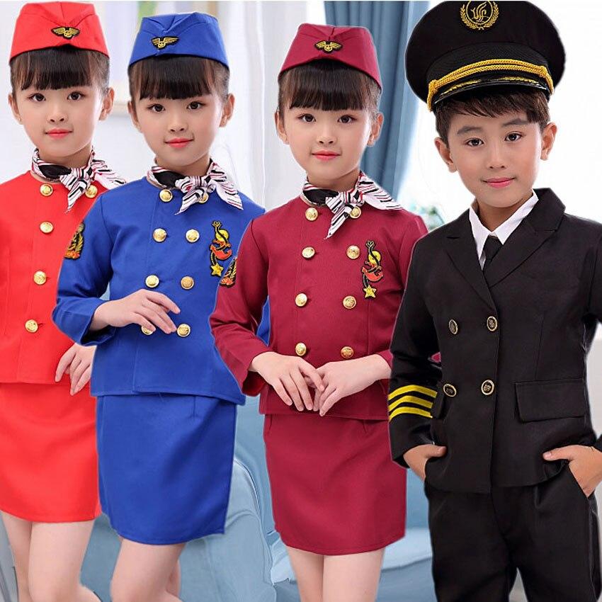 90-160cm Teenager Girls Flight Attendant Uniform Office Lady OL Clothing Dress Boys Pilot Air Force Captain Cosplay Costumes