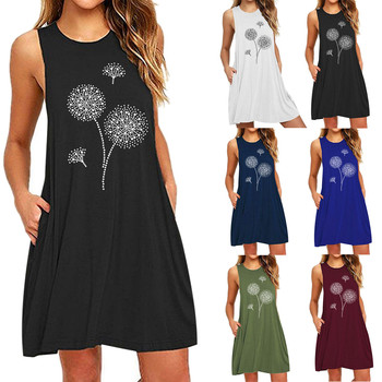 Ladies Summer Beach Dresses Fashion Womens Pocket Dandelions Printing Sleeveless Casual Nightdress Dresses Vestido