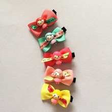 1 Pcs/lot Small Mini Bow Hairgrips Sweet Kids Girls Solid Whole Wrapped Safety Hair Clips