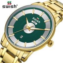 Роскошные наручные часы swish для мужчин золотые повседневные