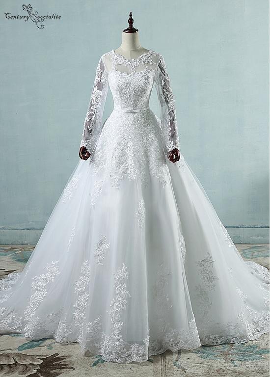 Ball Gown Long Sleeves Wedding Dresses Lace Appliques Corset Back Bride Dress Plus Size Bridal Gown Vestido De Noiva Cheap