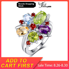 Genuine Amethyst Citrine Garnet Peridot Sky Blue Topaz Cocktail Ring Solid 925 Sterling Silver Amazing