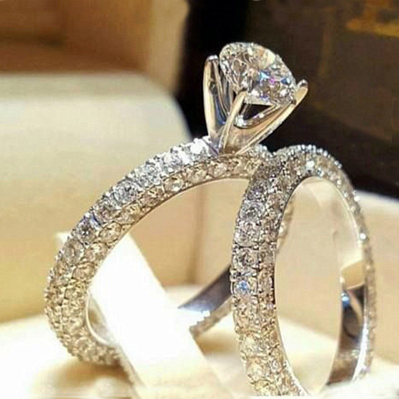 Vagzeb New 2pc/set AAA Cubic Zircon Engagement Rings Set For Women Sliver Color CZ Stone Wedding Ring Jewelry Gifts