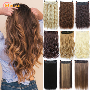 MEIFAN Long Straight/Curly Clip in Hair Extensions Red Black Brown High Tempreture Synthetic 5-Clips Fake Hair Piece for Women
