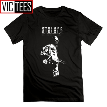 цена на Stalker SOC White Shadow of Chernobyl Tees Men Round Neck Men T Shirts Funny Leisure Short Sleeves T-Shirts 100% Cotton