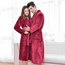 Soft Flannel Coral Fleece Lovers Dress Men Womens Warm Super Long Bath Robe Mens Kimono Bathrobe Dressing Gown Robes
