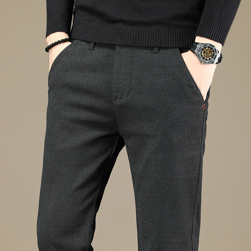 Mens Slim Straight-Leg Trousers Casual Solid Pencil Business Leisure Long Pants