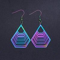 Super Unique arc-en-ciel couleur acier inoxydable mode géométrique goutte boucle d'oreille pour les femmes grandes boucles d'oreilles en gros