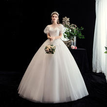 Ball-Gown Wedding-Dress Plus-Size Puff-Sleeve Lace Bride Princess Short Gryffon Sweet