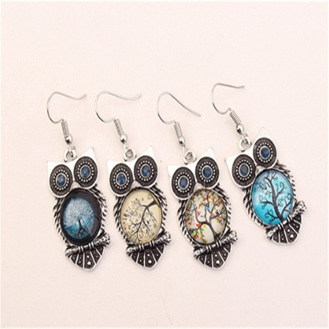 Boho Female Crystal Jewelry Set Charm Silver Color Dangle Earring For Women Vintage Owl Bracelet Wedding Chain Necklace 5