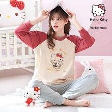 YATEMAO 2PCS/Set Cotton Maternity Nursing Clothes Pregnancy Pajamas Breathfeeding Sleepwear Long Sleeve Pyjama Set