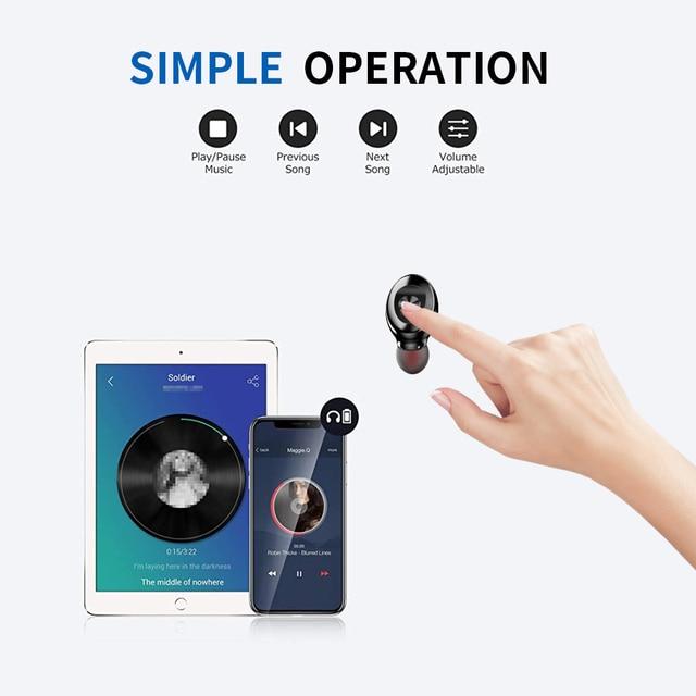 Bluetooth Earphone Wireless headphone Sport Earpiece Mini Headset Stereo Sound  In Ear IPX5 Waterproof tws 5.0   power display 1