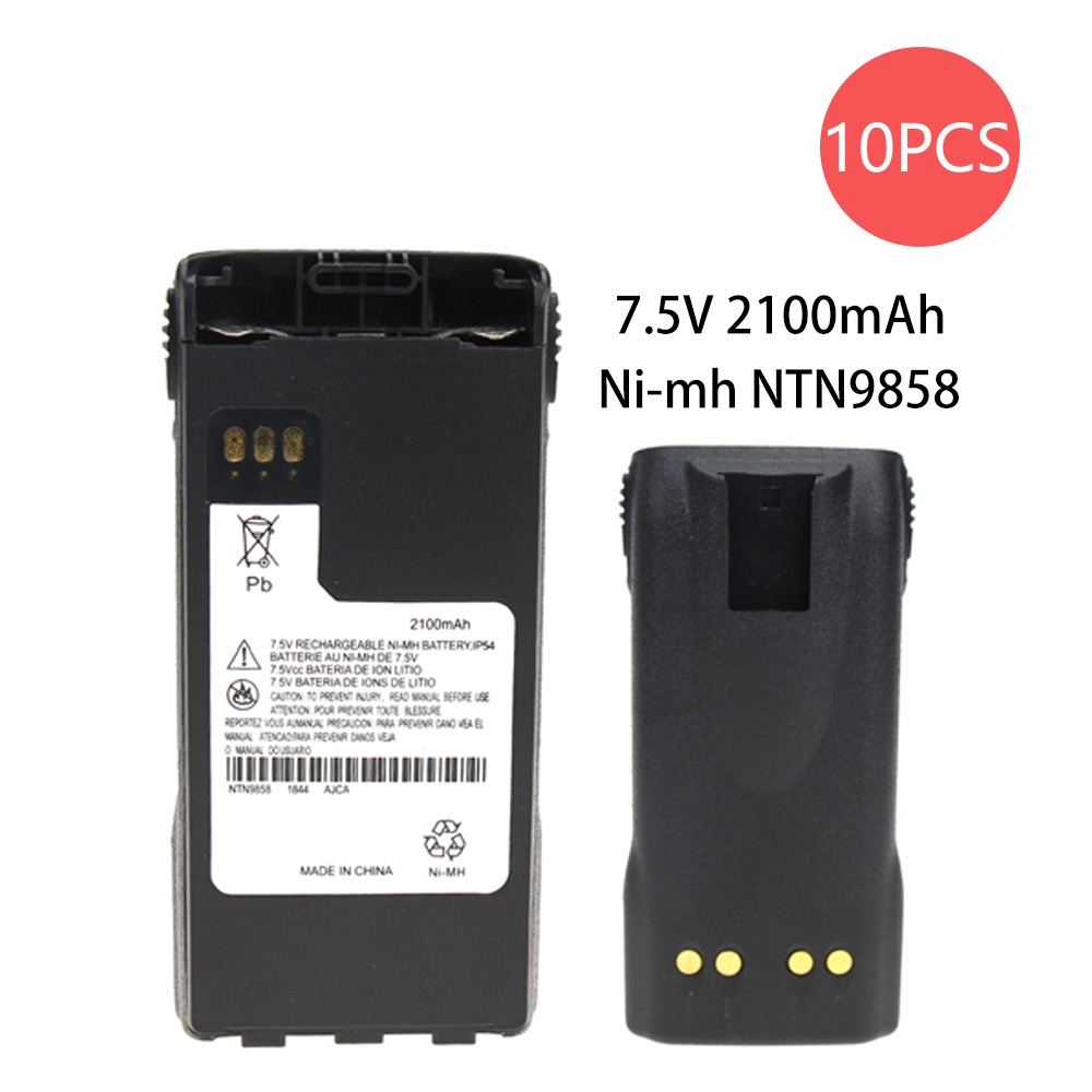 10 Pcs 7.5v 2100mAh NiMh Two-Way Radio Battery For Motorola NTN9815/A/AR/B NTN9858/A/AR/B/C XTS1500 XTS2500 PR1500 MT1500