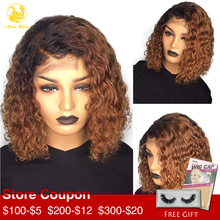Alisa Hair Short Bob Wig Lace Front Human Hair Wigs Water Wave Ombre 1B/30 Auburn Virgin Brazilian Wigs for Black Women цена 2017