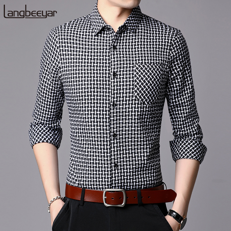 2019 Fall New Fashions Brand Designer Shirts Men Plaid Slim Fit Streetwear Long Sleeve Pattern Checkered Casual Mens Clothes